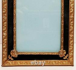 Antique Etched Ormolu & Black Silk Faille Easel Picture Frame Rose & Bow Mounts