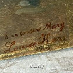 Antique FRENCH OIL PAINTING CANVAS Pink ROSES URN Dedicated Signed L. KERR 1902
