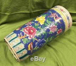 Antique Famille Rose Chinese Hand Painted Birds Flowers VTG Umbrella Stand Vase