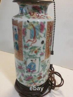 Antique Famille Rose Chinese Hand Painted Porcelain Table Lamp