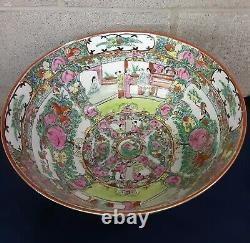 Antique Famille Rose Medallion Chinese Porcelain Bowl 12 Hand Painted Beautiful