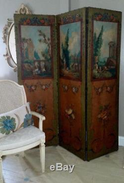 Antique Ferguson Room Divider Screen Painted Floral European shabby french roses