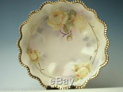 Antique Fine Prussia Royal Rudolstadt Roses Bowl Dishes Berry Set Hand Painted