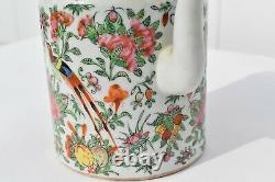 Antique Finely Painted Chinese Rose Medallion Porcelain Teapot Woven Basket