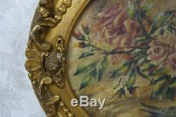 Antique Floral Oil Painting of Flowers Roses in Gold Gilt Oval Frame