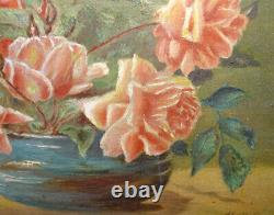 Antique Floral Still Life Oil Painting O/B Pink Roses in Vase Signed 16.5x12.75