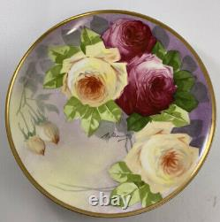 Antique France Limoges Coronet Hand Painted Signed Plate Roses & Gold 9
