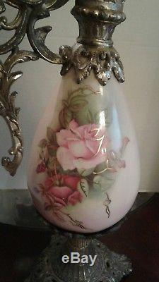 Antique French Ewer Pitcher Vase Lamp Body-Painted Roses-Victorian