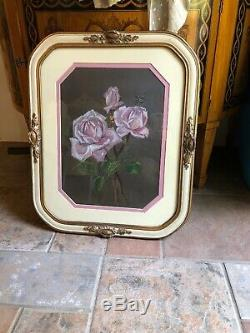 Antique French Floral Still Life Pastel Painting Pink Roses Bee Fabulous Frame
