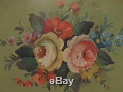 Antique French Hand Painted Green Tole Tray Roses 17.5 Long