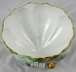 Antique French Hand Painted Limoges Porcelain Pink Rose Center Bowl 9 x 5.5