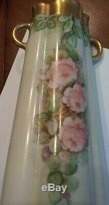Antique French Limoges Porcelain Hand Painted Scalloped Roses & Gold Gilt Vase