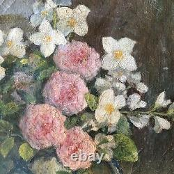 Antique French Oil Painting Bouquet of Roses circa 1940 Albert GASSE
