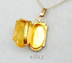 Antique French Pendant Picture Locket solid 18K rose Yellow Gold / 7.2 gr