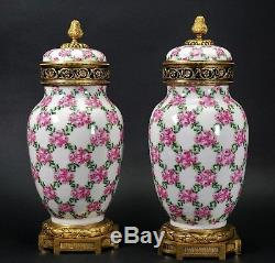 Antique French Sevres Style Limoges Ormolu Mounted Potpourri Jars Painted Roses