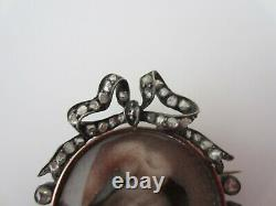 Antique French Silver Gold Rose Cut Diamonds Hand Painted Portrait Brooch Pin