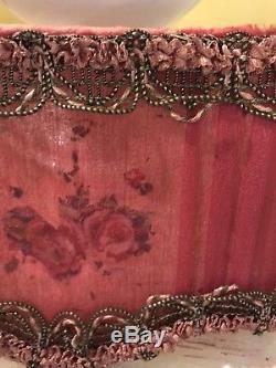 Antique French Torche Silk Shades Crimson Painted Roses Set Of 4 Metalwork Rare