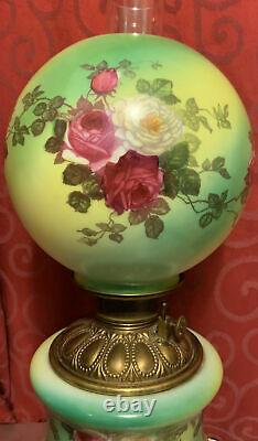 Antique GWTW Green Glass OIL LAMP Light Brass ROSES Floral FLOWERS Hand Painted