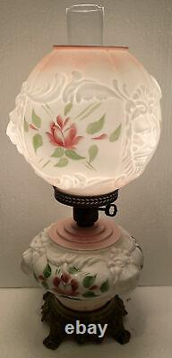 Antique GWTW Pink Hurricane Lamp Embossed Puffy Lion Face Head Painted Roses
