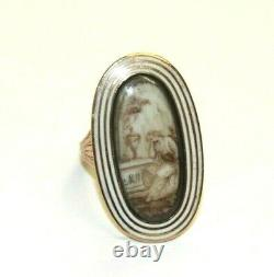 Antique Georgian 9ct Rose Gold Sepia Painted Mourning Panel Ring Dated 1791