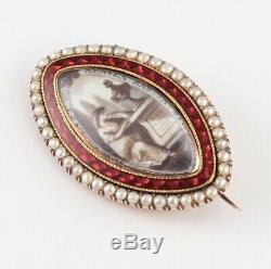 Antique Georgian Rose Gold And Guilloche Enamel Sepia Painting Mourning Brooch