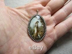 Antique Georgian Sepia Miniature Painting 9k Rose Gold/Seed Pearls Oval Pendant