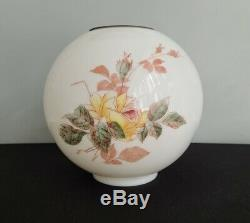 Antique Glass Globe Ball Lamp Shade Painted Roses Floral GWTW Banquet Piano