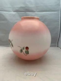 Antique Glass Gone With The Wind Globe Lamp Shade GWTW Hand Painted Pink Rose