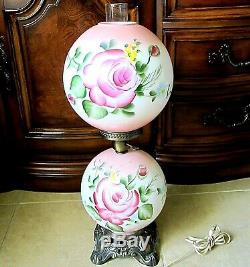 Antique Glass Gwtw Globe Hurricane Hand Painted Rose Parlor Table Lamp