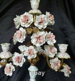 Antique Gold Gilded Candelabras Pink Porcelain Roses Hand Painted French/italian