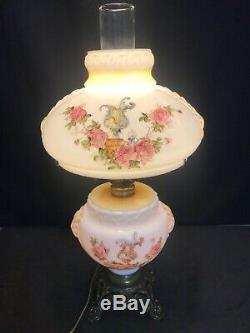 Antique Gone With The Wind Oil Lamp Hand Painted Roses GWTW