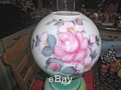 Antique Gone With The Wind Oil Lamp Victorian Parlor Painted Pink Rose Green