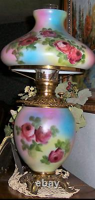 Antique Gone with the Wind Hand Painted Roses Banquet Parlor Lamp Electrified