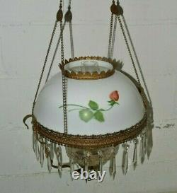Antique HANGING OIL LAMP Painted Roses FLORAL SHADE Retractable B&H Hanger Frame