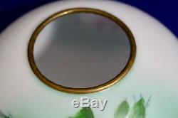 Antique Hand Painted Glass Ball Shade Green With Pink Roses GWTW Banquet 9 1/2W