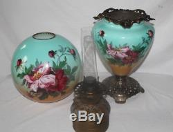 Antique Hand Painted Gone with the Wind Oil Lamp with WILD ROSES RARE 12 Shade