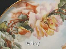 Antique Hand Painted Large 15 1/4 Limoges Haviland Roses Tray 1900