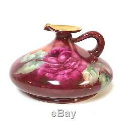 Antique Hand Painted Limoges Porcelain Ewer Pitcher Red Pink Roses