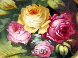 Antique Hand Painted Limoges Roses Charger Plate Artist Signed 1905