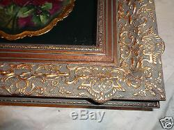 Antique Hand Painted Limoges Sgd Floral Roses Charger Ornate Shadow Box