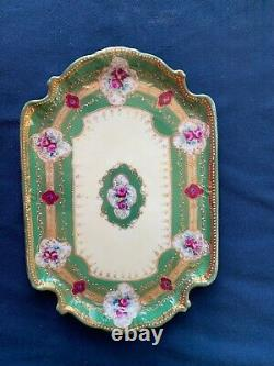 Antique Hand Painted Nippon Moriage Gold Roses Floral Tray