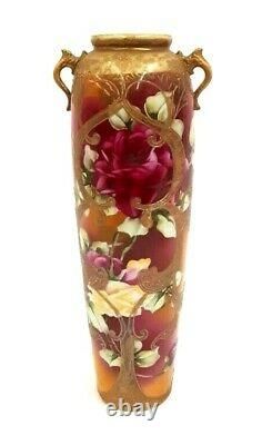 Antique Hand Painted Nippon Moriage/roses Huge Vase 15