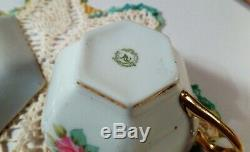 Antique Hand Painted Nippon Roses Moriage Cup & Saucer Circa 1911-1921 RARE