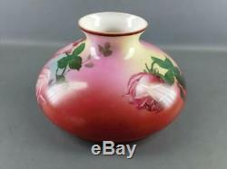 Antique Hand Painted Romantic Roses Glass Oil Lamp Shade