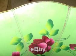 Antique Hand Painted TCT Morning Glory RED ROSE Flower Edison Phonograph Horn