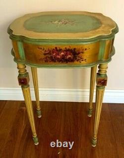 Antique Hand Painted Vanity Table with Gold & Roses