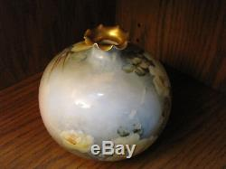 Antique Hand Painted Vase Willets Belleek Roses 6.4 Tall Marked 1904