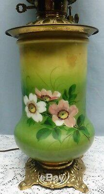 Antique Hand Painted Wild Roses Electrified Oil / Kerosene GWTW Table Lamp