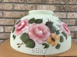 Antique Hanging Oil Lamp Parlor Hand Painted Cabbage Rose Glass Shade 14 Fitter
