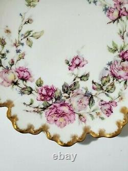 Antique Haviland & Co Limoges Plate Hand Painted with Roses and Gilded 9